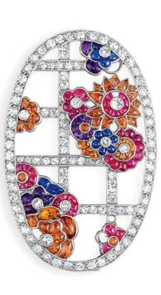 AN ART DECO DIAMOND AND MULTI-GEM BROOCH, BY VAN CLEEF ARPELS Of oval-shaped outline, designed as a single-cut diamond garden trellis, decorated with clusters of bufftop cabochon ruby, sapphire, amethyst and orange topaz flower blossoms, with collet-set diamond pistils, mounted in platinum, 1927, with French assay marks Signed Van Cleef et Arpels.