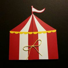 Handmade circus tent shaped invitations perfect for your circus themed party! Each invitation is handmade with layered cardstock and measures approximately 5.15 x 5.25. It is tied together with coordinating striped twine string. Colors are not limited to those pictured - we can create