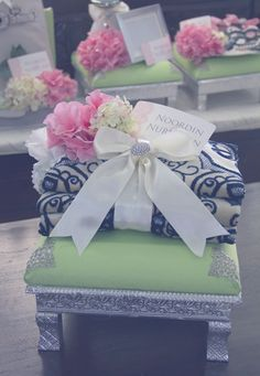 Wedding Gift Trays - Pink & Green Theme
