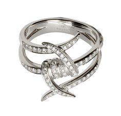 Stephen Webster 18-carat White Gold Forget Me Knot Ring with White Diamonds.
