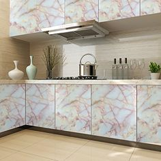 ARUHE PVC Selfadhesive Stickers Cabinet PaperKitchen Contact Paper Gloss  Self Adhesive Cover20 Feet W X 164 Feet