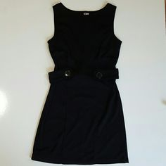 Black dress tank top with side button Wonderful black scoop neck tank top strap dress with belt that wraps around tour back but does not reach all the way around, it stops in the front and has two buttons as a cute belted waist accent. Soft polyester material and from Degrees. Degrees  Dresses Midi