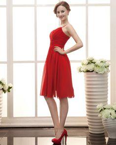 Stylish Ruffle Sweetheart Knee Length Satin & Chiffon Bridesmaid Dress