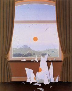 """The Evening Falls (Le Soir qui tombe)"" 1964 Rene Magritte. Rene Magritte, Devine Design, Composition Art, Logo Design, Surrealism Painting, Tumblr, Through The Window, Maker, Surreal Art"
