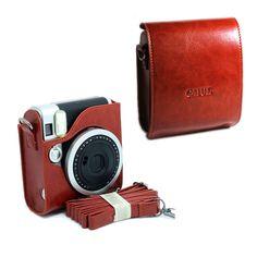 For Fujifilm Instax Mini 90 NEO Classic Camera PU Leather Case Bag Brown  Strap