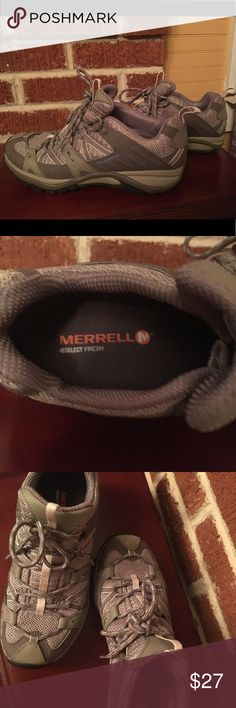 Merrell performance footwear low top Olive colored Merrell brand low hiking type performance shoes.  Size 7.5. These were worn twice and are I like new condition. Anyone one wanting more pictures, please message me. Merrell Shoes Athletic Shoes