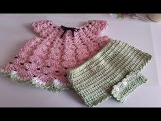 Cubre pañal a crochet -Ganchillo - para bebe - super facil de tejer - crochet diaper covers Crochet Toddler Dress, Toddler Dress Patterns, Crochet Baby Dress Pattern, Baby Dress Patterns, Crochet Baby Clothes, Crochet Girls, Baby Knitting Patterns, Crochet Patterns, Vintage Crochet