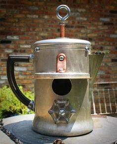 fleaChic: bird house from a coffee pot