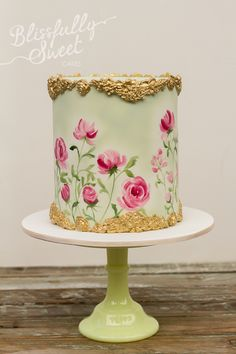 Blissfully Sweet Cakes amazing hand painted design! For more great ideas go to www.destinationweddingcollective.com
