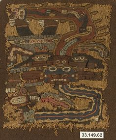 Embroidered Mantle Fragment  Date:     3rd–2nd century BCE Geography:     Peru Culture:     Paracas Medium:     Camelid hair, cotton