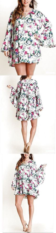 Plus Size Floral Bell Sleeve Boho Swing Mini Dress Hippie Tunic Top $38.95