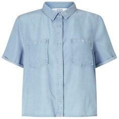 Miss Selfridge Tencel Boxy Shirt ($35) ❤ liked on Polyvore featuring tops, light wash denim, miss selfridge, blue button shirt, blue top, boxy top and button shirt