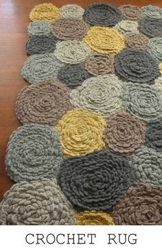 crocheted roses rug - yellow & gray