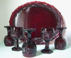 Cape Cod Collection from Avon - 5 Vintage Ruby Red Goblets and 1 large Oval Serving Platter