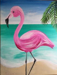 Learn how to paint your own flamingo painting step by step with this acrylic painting tutorial. Detailed instruction for beginners. drawing for kids Flamingo Painting - Learn How To Paint A Flamingo Step By Step Cute Canvas Paintings, Small Canvas Art, Easy Canvas Painting, Simple Acrylic Paintings, Acrylic Painting Tutorials, Acrylic Canvas, Oil Paintings, Indian Paintings, Painting Tips