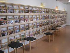 Rovaniemi Library. Alvar Aalto-designed magazine shelves.