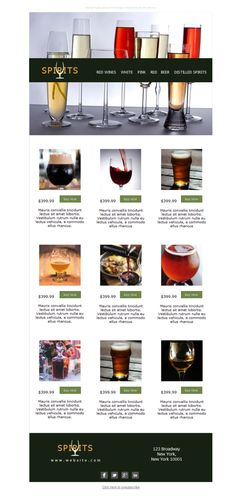 Una colección de plantillas newsletters para tu colección de bebidas espirituosas. Si eres mayorista de alcohol o tienes una destilería, ¡no lo dudes! ¡dale un chupito a Mailify y prueba gratis tus eventos!