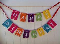 Fiesta Happy Birthday or Feliz Cumpleanos Banner that matches Papel Picado Invitation Personalized I design you print