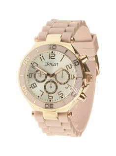 Ernest Horloge Rose Goud - Licht Rozeis een prachtig rose gouden horloge met een licht rozekunststoffen band en een zilveren wijzerplaat.Let op!Nabestellen voor 14:00 uur duurt twee werkdagen, anders heb je het horloge binnen drie werkdagen.