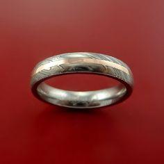 Damascus Steel  Woman's 14K Rose Gold Ring Wedding Band Custom Made
