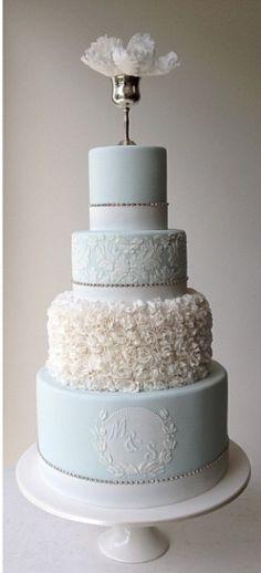 we ❤ this! moncheribridals.com #weddingcake #blueweddingcake
