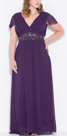 Zeilei Plus Size Chiffon Mother of Bride Cap Sleeve Long Gown in Plum Discount – The Wedding Dresses