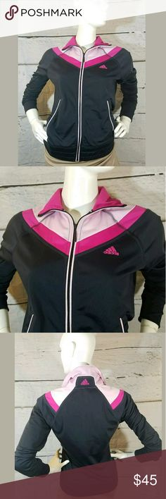 FIRM Adidas Full Zip Athletic Fitness Track Jacket Adidas Full Zip Athletic Fitness Track Jacket Black Pink Small  Excellent used condition.  18 inches pit to pit.  25.5 inches long.   LB adidas Jackets & Coats