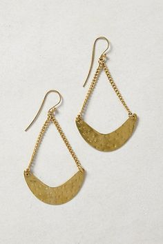 Waning Crescent Drops #anthropologie  Hammered metal, chain, french hooks