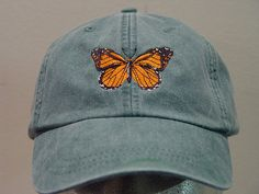 MONARCH BUTTERFLY HAT  One Embroidered Insect Wildlife Cap