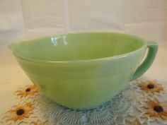Vintage FIRE KING Batter Bowl Green Jadite by OutrageousVintagious
