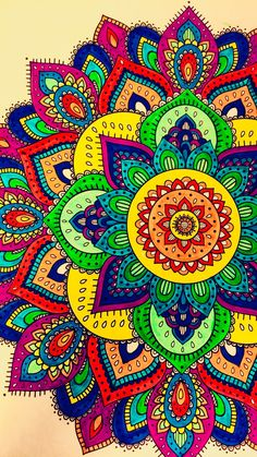 I Am Crazy for These Vibrant Colors! This is uch a Piece of Art It's Priceless! Mandala and Pattern Art Can Be A Great Way to Clear Your Mind and Spark Your Creativity. Mandala Art, Mandala Doodle, Mandala Drawing, Cute Wallpapers, Wallpaper Backgrounds, Motifs Islamiques, Design Tattoo, Coloring Book Art, Africa Art