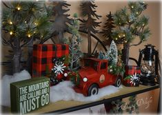 Truck Christmas Etagere Dining Delight: Red Truck Christmas EtagereThis Christmas This Christmas may refer to: Country Christmas Decorations, Christmas Mantels, Farmhouse Christmas Decor, Diy Christmas Ornaments, Rustic Christmas, Xmas Decorations, Christmas Home, Cabin Christmas Decor, Homemade Decorations
