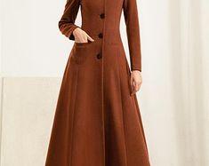 Maxi wool coat Hooded swing coat gray coat women coat | Etsy Long Winter Coats, Long Wool Coat, Black Wool Coat, Winter Coats Women, Coats For Women, Camel Coat, Long Wool Skirt, Gray Coat, Cashmere Fabric