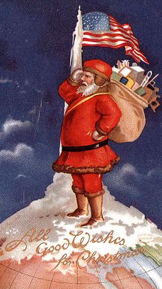 patriotic Christmas postcard Santa saluting at the North Pole with U.S. flag
