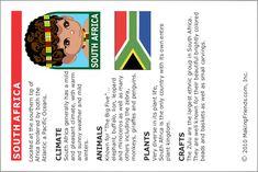 South Africa Thinking Day Passport Insert