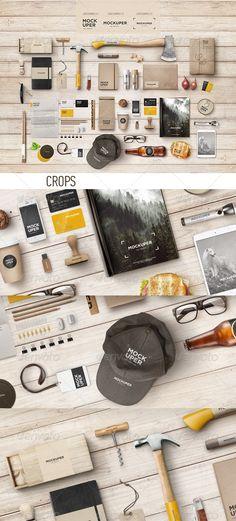 Brutal Wood Branding Mock-Up (PSD) - Product Mock-Ups Graphics Tool Design, Layout Design, Web Design, Wood Branding, Branding Design, Mockup Photoshop, Paper Artwork, Box Mockup, Corporate Design