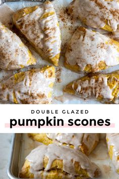 *NEW* Get that pumpkin spice latte to go -- you can make moist and fluffy, pumpkin scones with spiced glaze right at home with this easy-to-follow recipe! #pumpkinscones #scones #pumpkin #glaze #desserts Pumpkin Scones, Pumpkin Spice Latte, Baking Sheet, Pie Recipes, Just Desserts, Tart, Glaze, Spices, Vegetarian
