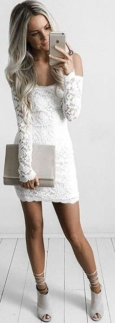 #summer #feminine #outfits | Off the Shoulder Lace Dress