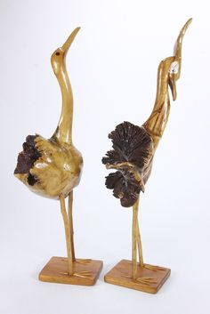 Pair Of Heron Or Crane Burled Wood Folk Art Carved Sculptures Male Female Birds