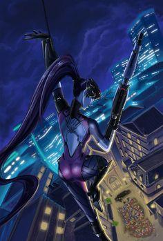 Widowmaker from Overwatch, art by Kristen des Vignes