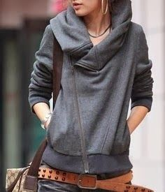 Stylish belt with gray jacket and purse