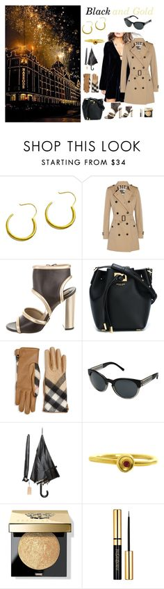 """""""Black and Gold."""" by stavrosdragatakis ❤ liked on Polyvore featuring Burberry, Michael Kors, Bobbi Brown Cosmetics and dragatakisjewellery"""