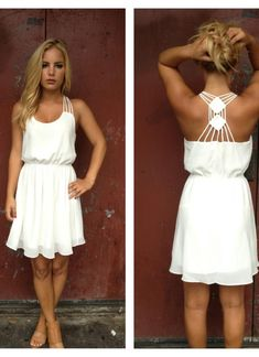 White Cocktail Dress - White Chiffon Double Diamond Strappy