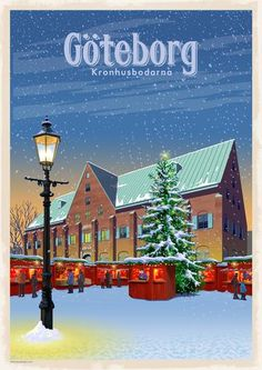 Sverige – Thomasodesign Poster City, Travel Illustration, City Art, Vintage Travel Posters, Beautiful Places To Visit, Places To Travel, Landscape, Retro, Gothenburg