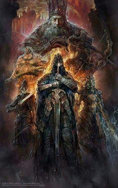 The legendary Dark Souls Age of Fire is explored through a Silver Knight Arkon and his service to Gwyn, Lord of Sunlight. Arte Dark Souls, Dark Souls 2, Dark Souls Lore, Dark Fantasy Art, Fantasy Artwork, Fantasy Demon, Ornstein Dark Souls, Soul Saga, Bloodborne Art