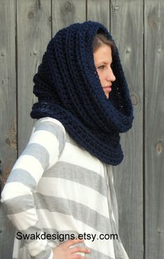 Navy Blue Hooded Cowl   Oversized   CHOOSE Your by SWAKCouture, $59.00