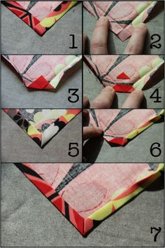 Simple Cloth Napkins - Mitered Corners - Crafty Staci 4 by pamela Make several to use for valance--Simple Cloth Napkins - Mitered Corners - Tie Dye Diva Patterns - How to Sew Mitered Corners (for Cloth Napkins or other Squares) This post was discovered by Quilting Tips, Quilting Tutorials, Sewing Tutorials, Sewing Patterns, Beginner Quilting, Tutorial Sewing, Quilting Projects, Sewing Mitered Corners, Fabric Crafts