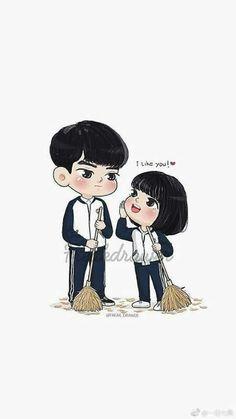 I like yo Cute Couple Art, Anime Love Couple, Couple Cartoon, Cute Anime Couples, Cute Cartoon Characters, Cartoon Art, Beautiful Drawings, Cute Drawings, A Love So Beautiful