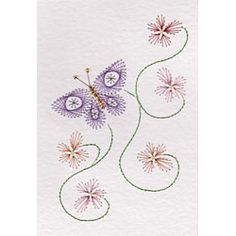 Flowers with butterfly pattern at Stitching Cards.