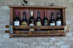 Beautiful Rustic Barnwood Wine Rack, with Elegant Glass Bottom Rack